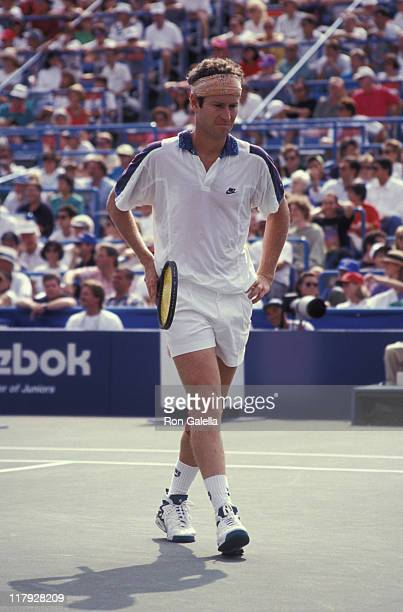John McEnroe during 1992 US Open Third Round John McEnroe vs Richard Fromberg at Flushing Meadow in Queens New York United States