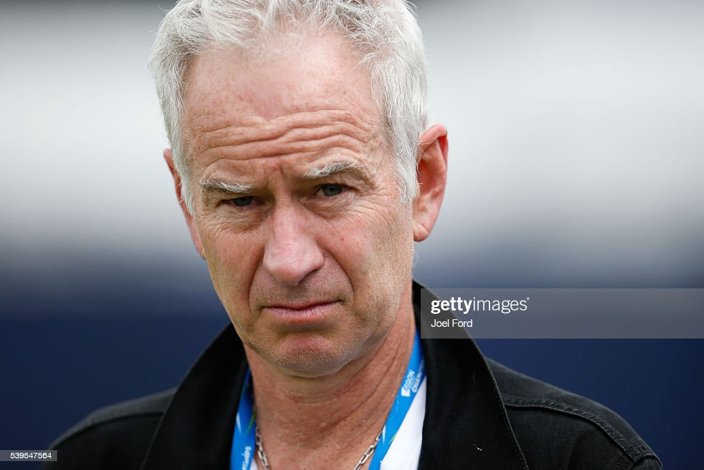 John McEnroe during a practice session for Milos Raonic at the Aegon Championships at Queens Club on June 12, 2016 in London, England.