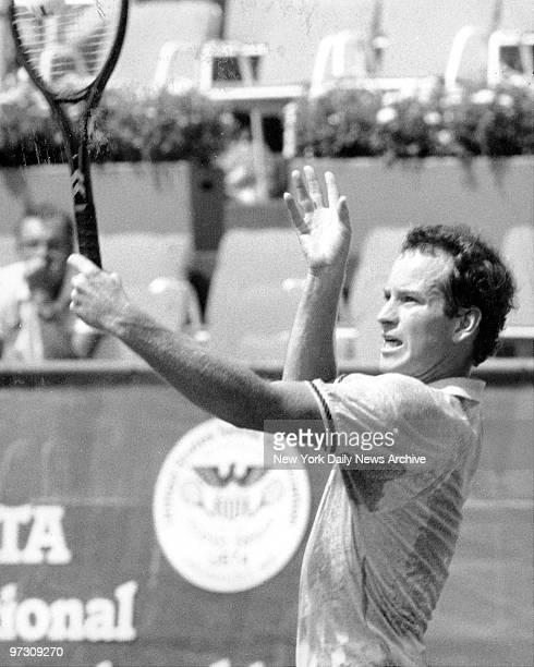 John McEnroe during his straightset win vs Canada's Martin Wostenholme