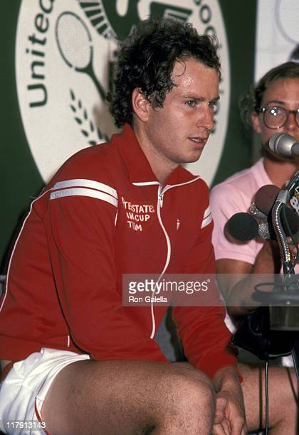 John McEnroe during John McEnroe Press Conference at the US Open August 30 1983 at Flushing Meadows Park in Flushing New York United States
