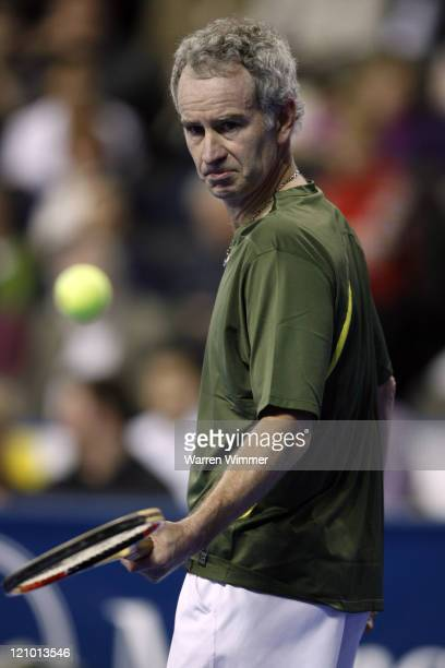 John McEnroe during match action of the Mercedes Benz Classic Tennis Tour at Chicago's newest sports venue, The Sears Centre Arena, Hoffman Estates,...
