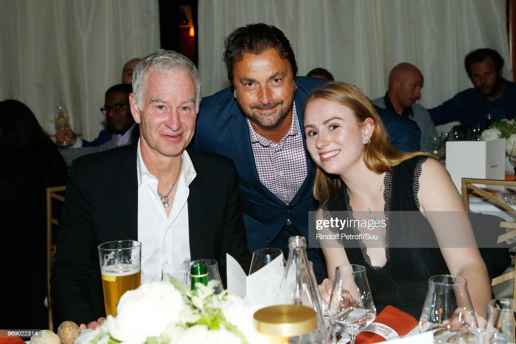 John McEnroe, Henri Leconte and guest attend 'Diner des Legendes' at Le Fouquet's on June 6, 2018 in Paris, France.