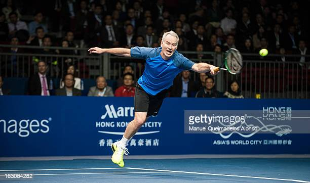 John McEnroe in action during his match against Ivan Lendl as part of the Hong Kong Showdown at the AsiaWorld Expo on March 4 2013 in Hong Kong China