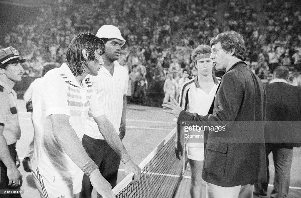 Official Giving Ilie Nastase a Warning : News Photo