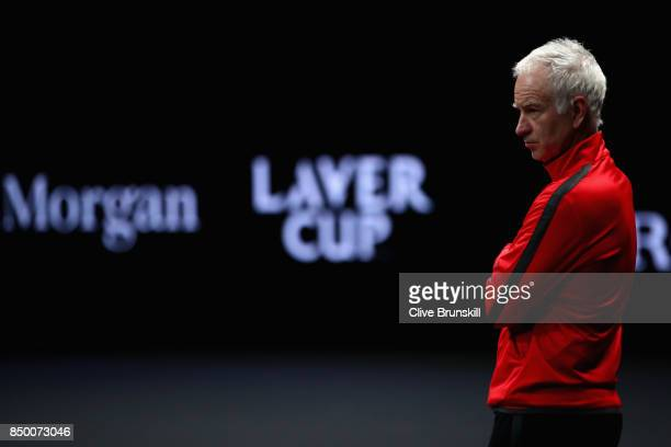John McEnroe looks on during a training session ahead of the Laver Cup on September 20 2017 in Prague Czech Republic The Laver Cup consists of six...
