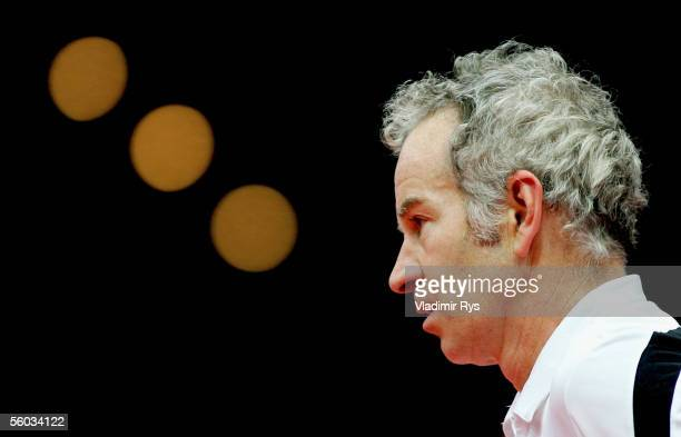 John McEnroe looks on during the final of the Deichmann Champions Trophy at the Grugahalle on October 30, 2005 in Essen, Germany.