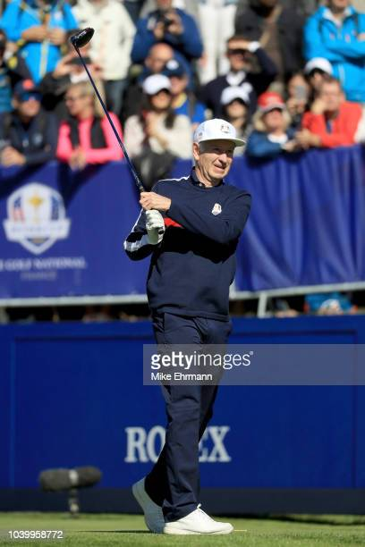 John McEnroe of Team USA tees off on the 1st hole during the celebrity challenge match ahead of the 2018 Ryder Cup at Le Golf National on September...