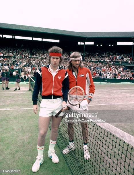 John McEnroe of the United States and Bjorn Borg of Sweden pose together at the net prior to the final of the Men's Singles tournament at the...