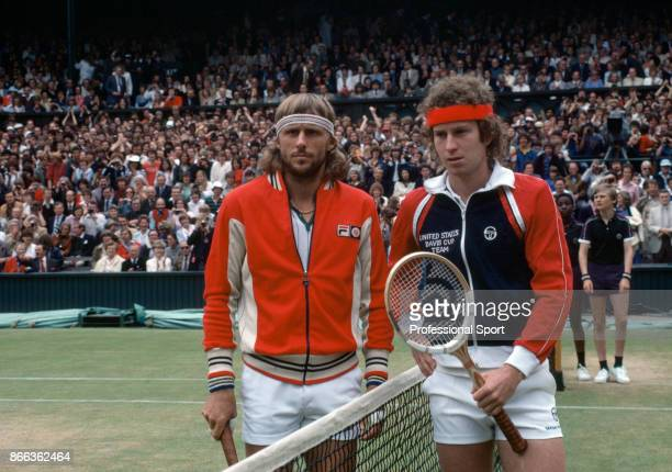 John McEnroe of the USA and Bjorn Borg of Sweden pose together prior to the mens singles Final match at the Wimbledon Lawn Tennis Championships at...