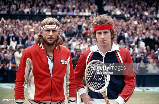 John McEnroe of the USA and Bjorn Borg of Sweden before the start of the Mens Singles Final at the Wimbledon Lawn Tennis Championships held in London...