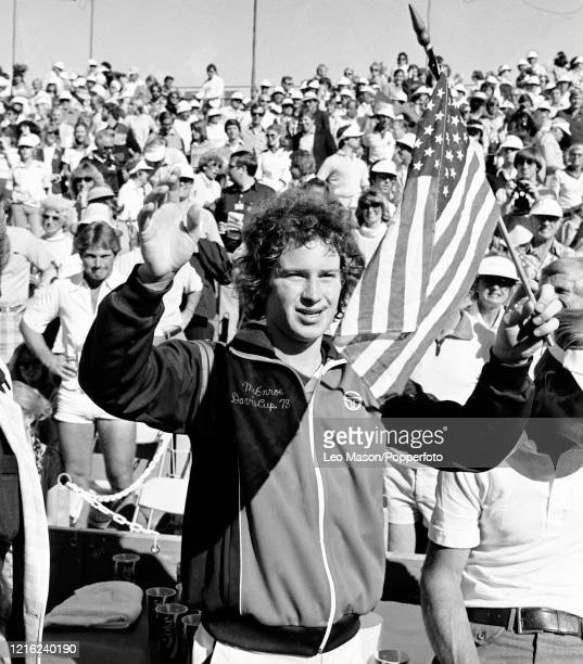 John McEnroe of the United States celebrates after defeating Buster Mottram of Great Britain in the 4th rubber of the 1978 Davis Cup Final at the...