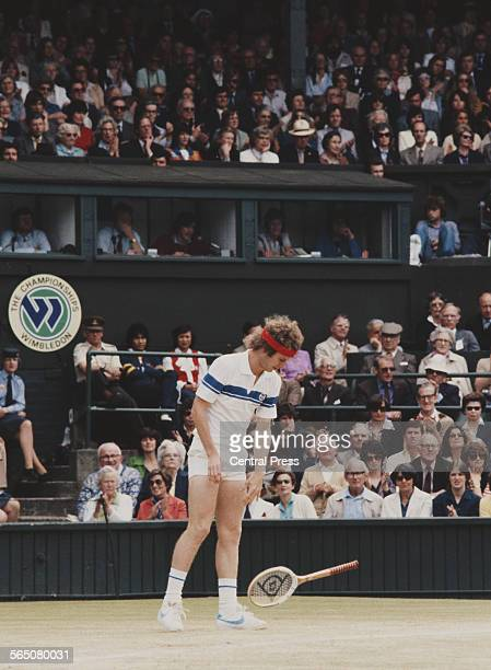 John McEnroe of the United States drops his raquet during the Men's Singles Final match against Bjorn Borg at the Wimbledon Lawn Tennis Championship...