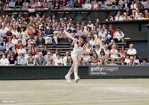 John McEnroe of the United States during the Men's Singles Final match against Bjorn Borg at the Wimbledon Lawn Tennis Championship on 4 July 1981 at...