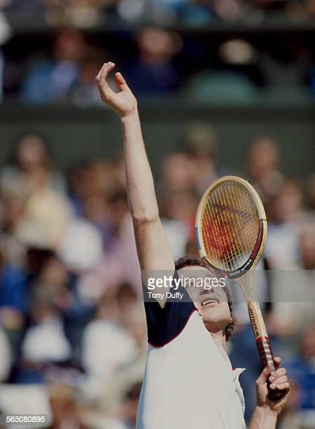 John McEnroe of the United States during the Men's Singles Final match against Jimmy Connors at the Wimbledon Lawn Tennis Championship on 4 July 1982...