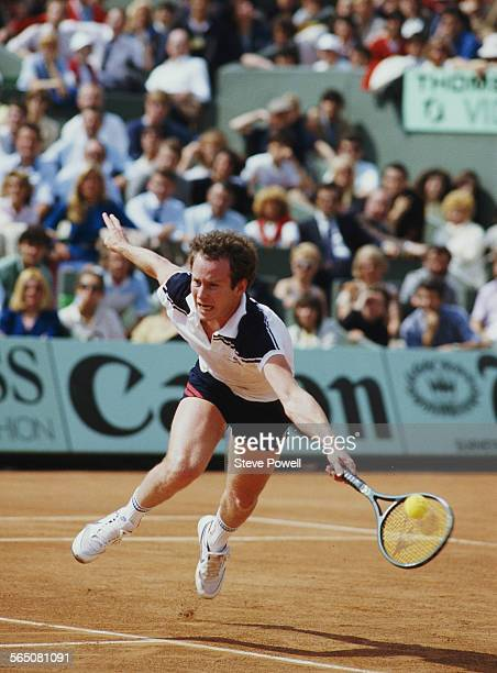 John McEnroe of the United States during the Men's Singles Final match at the French Open Tennis Championship on 10 June 1984 at the Stade Roland...