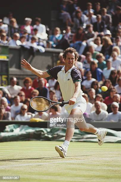 John McEnroe of the United States during the Men's Singles Final match against Stefan Edberg at the Wimbledon Lawn Tennis Championship on 9 July 1989...