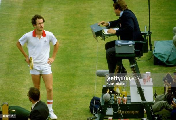 John McEnroe of the USA appeals the umpires decision during Wimbedon in London England Mandatory Credit Allsport UK /Allsport
