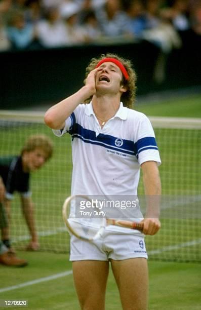 John McEnroe of the USA dispairs during Wimbledon in London England Mandatory Credit Tony Duffy /Allsport
