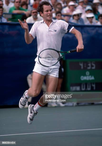 John McEnroe of the USA in action against Ivan Lendl of Czechoslovakia in the men's singles Final during the US Open at the USTA National Tennis...