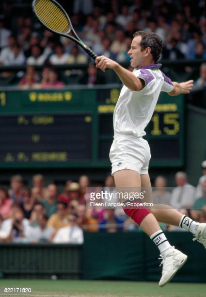 John McEnroe of the USA in action during the Wimbledon Lawn Tennis Championships in London circa July 1992 McEnroe was defeated in straight sets by...