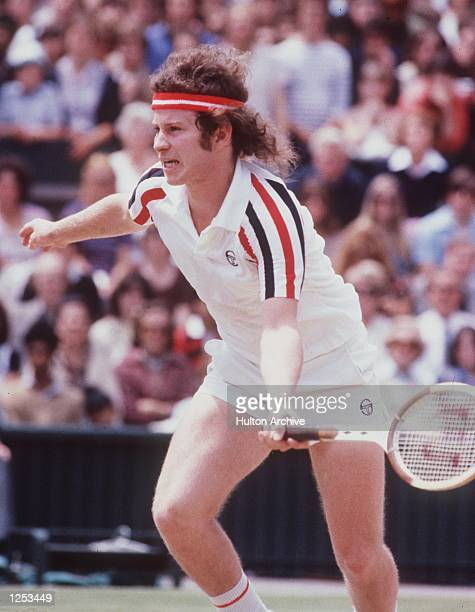 John McEnroe of the USA seen in action during Wimbledon fortnight He went on to the final where he lost to Bjorn Borg of Sweden Mandatory Credit...