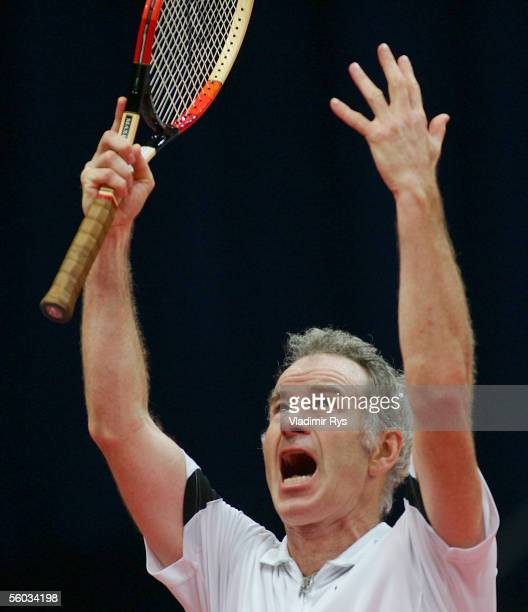 John McEnroe of U.S.A. In action during the final of the Deichmann Champions Trophy against Goran Ivanisevic of Croatia at the Grugahalle on October...