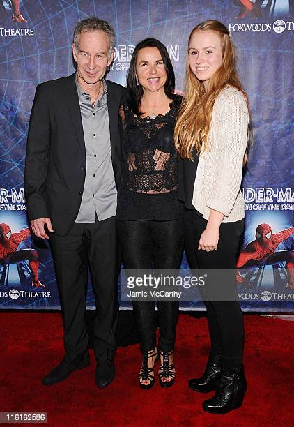 John McEnroe Patty Smyth and Anna McEnroe attend SpiderMan Turn Off The Dark Broadway opening night at Foxwoods Theatre on June 14 2011 in New York...