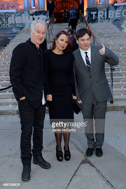 John McEnroe Patty Smyth and Mike Myers attend the Vanity Fair Party during the 2014 Tribeca Film Festival at the State Supreme Courthouse on April...