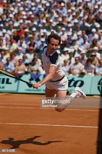 John McEnroe playing Ivan Lendl in the men's singles final of the Tournoi de Roland-Garros , at the Stade Roland Garros, Paris, June 1984. Lendl won...