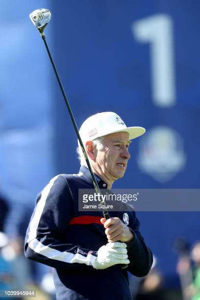 John McEnroe plays a shot during the celebrity matches ahead of the 2018 Ryder Cup at Le Golf National on September 25 2018 in Paris France