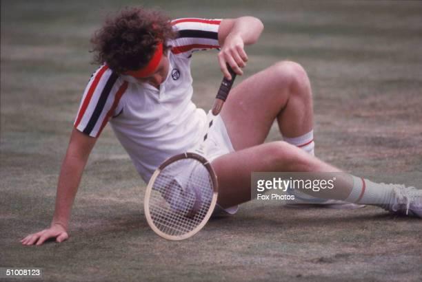 John McEnroe plays Bjorn Borg at the Wimbledon finals 1980