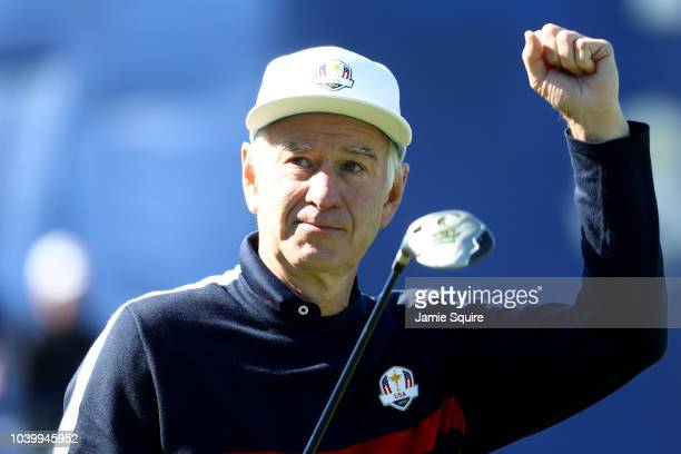 John McEnroe reacts during the celebrity matches ahead of the 2018 Ryder Cup at Le Golf National on September 25 2018 in Paris France