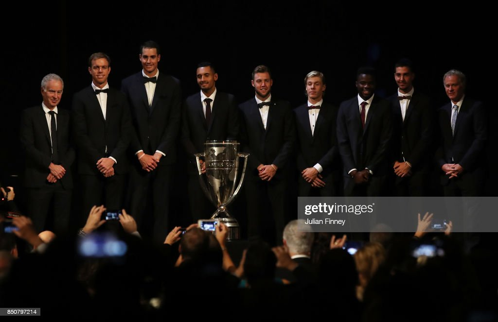 John Mcenroe, Sam Querrey, John Isner, Nick Kyrgios, Jack Sock, Denis Shapovalov, Frances Tiafoe and Thanasi Kokkinakis of Team World line up on stage at the Laver Cup Gala Dinner during previews ahead of the Laver Cup on September 21, 2017 in Prague, Czech Republic. The Laver Cup consists of six European players competing against their counterparts from the rest of the World. Europe will be captained by Bjorn Borg and John McEnroe will captain the Rest of the World team. The event runs from 22-24 September.