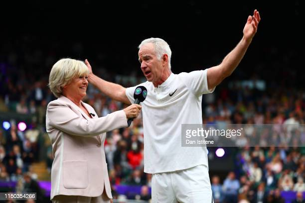 John McEnroe speaks with Sue Barker during the Wimbledon No 1 Court Celebration in support of the Wimbledon Foundation at All England Lawn Tennis and...