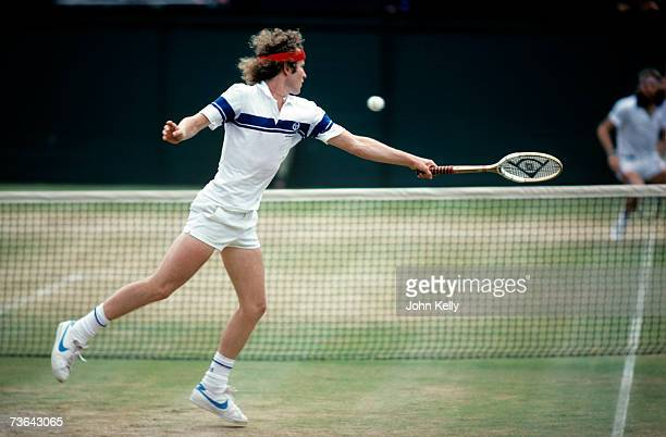 John McEnroe stretches to return volley to Bjorn Borg in the 1981 men's single's final.
