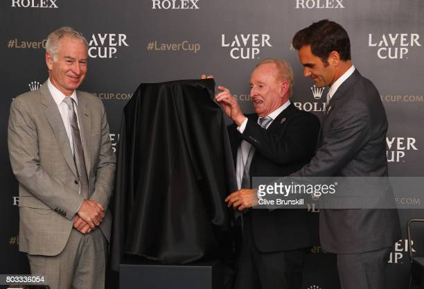 John McEnroeRod Laver and Roger Federer unveil the Laver Cup trophy at the unveiling of the Laver Cup trophy at Cannizaro House on June 29 2017 in...