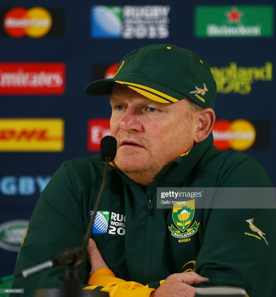 John McFarland (Defence Coach) of South Africa during the South African national rugby team media briefing at Pennyhill Park on October 12, 2015 in London, England.