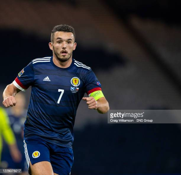 John McGinn in action for Scotland during a Nations League match between Scotland and Czech Republic at Hampden Park, on October 14 2020, in Glasgow,...