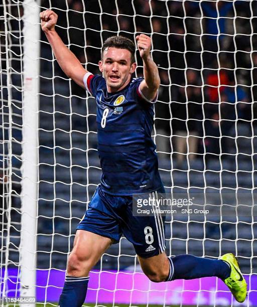 John McGinn makes it 31 during the UEFA European Championship Qualifier between Scotland and Kazakhstan at Hampden Park on November 19 in Glasgow...