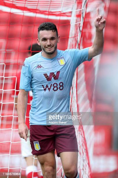 John McGinn of Aston Villa celebrates after he scores his sides fourth goal during the Pre-Season Friendly match between Charlton and Aston Villa at...