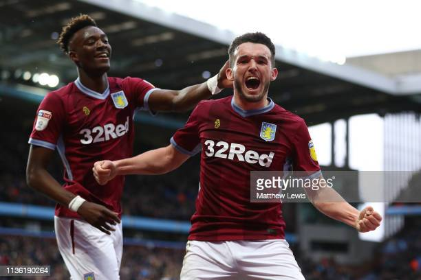 John McGinn of Aston Villa celebrates his goal with Tammy Abraham of Aston Villa during the Sky Bet Championship match between Aston Villa and...