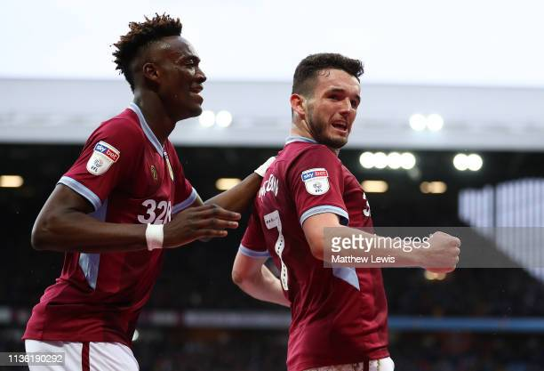 John McGinn of Aston Villa celebrates his goal with Tammy Abraham of Aston Villa during the Sky Bet Championship match between Aston Villa and...
