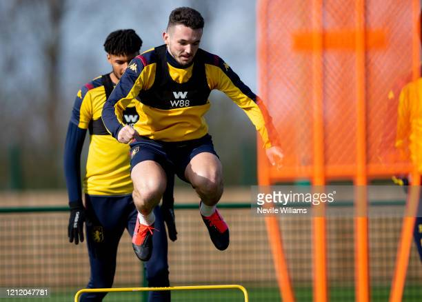 John McGinn of Aston Villa in action during a training session at Bodymoor Heath training ground on March 12 2020 in Birmingham England