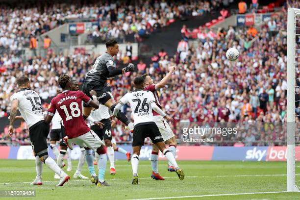 John McGinn of Aston Villa scores his sides second goal during the Sky Bet Championship Play-off Final match between Aston Villa and Derby County at...