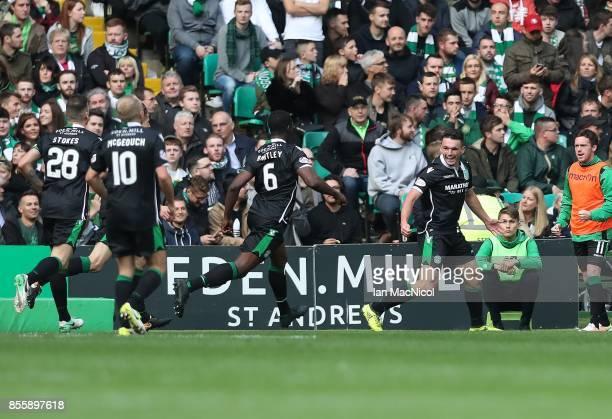 John McGinn of Hibernian celebrates after he scores during the Ladbrokes Scottish Premiership match between Celtic and Hibernian at Celtic Park...