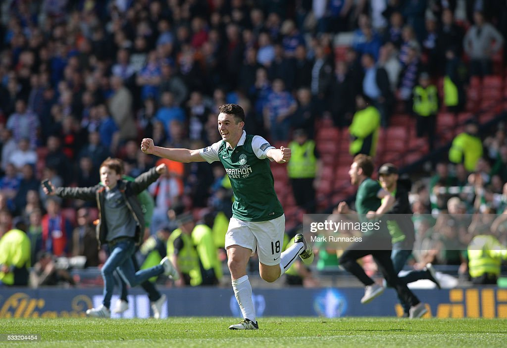 John McGinn of Hibernian celebrates at the final whistle as Hibernian beat Rangers 3-2 during the William Hill Scottish Cup Final between Rangers FC and Hibernian FC at Hamden Park on May 21, 2016 in Glasgow, Scotland.