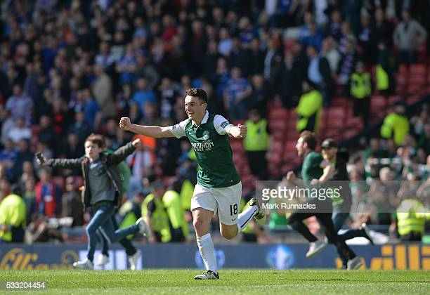John McGinn of Hibernian celebrates at the final whistle as Hibernian beat Rangers 3-2 during the William Hill Scottish Cup Final between Rangers FC...