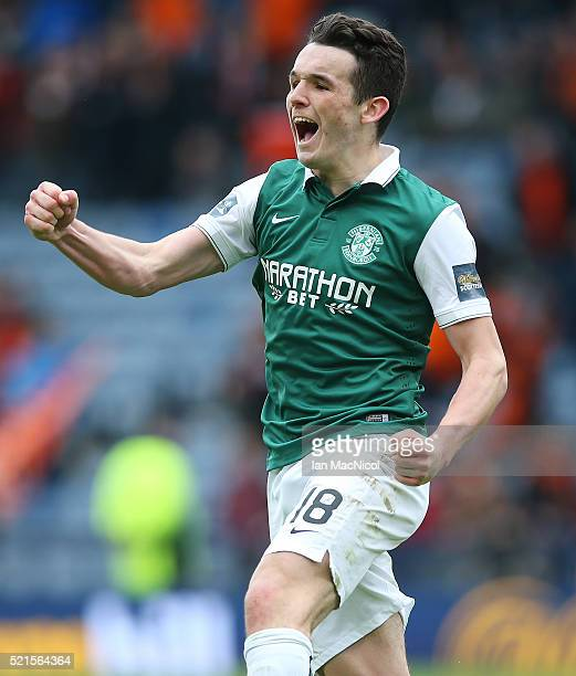 John McGinn of Hibernian celebrates scoring a penalty during the penalty shoot out during the Scottish Cup Semi Final between Hibernian and Dundee...