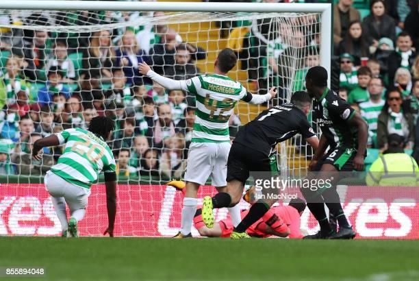John McGinn of Hibernian scores during the Ladbrokes Scottish Premiership match between Celtic and Hibernian at Celtic Park Stadium on September 30...
