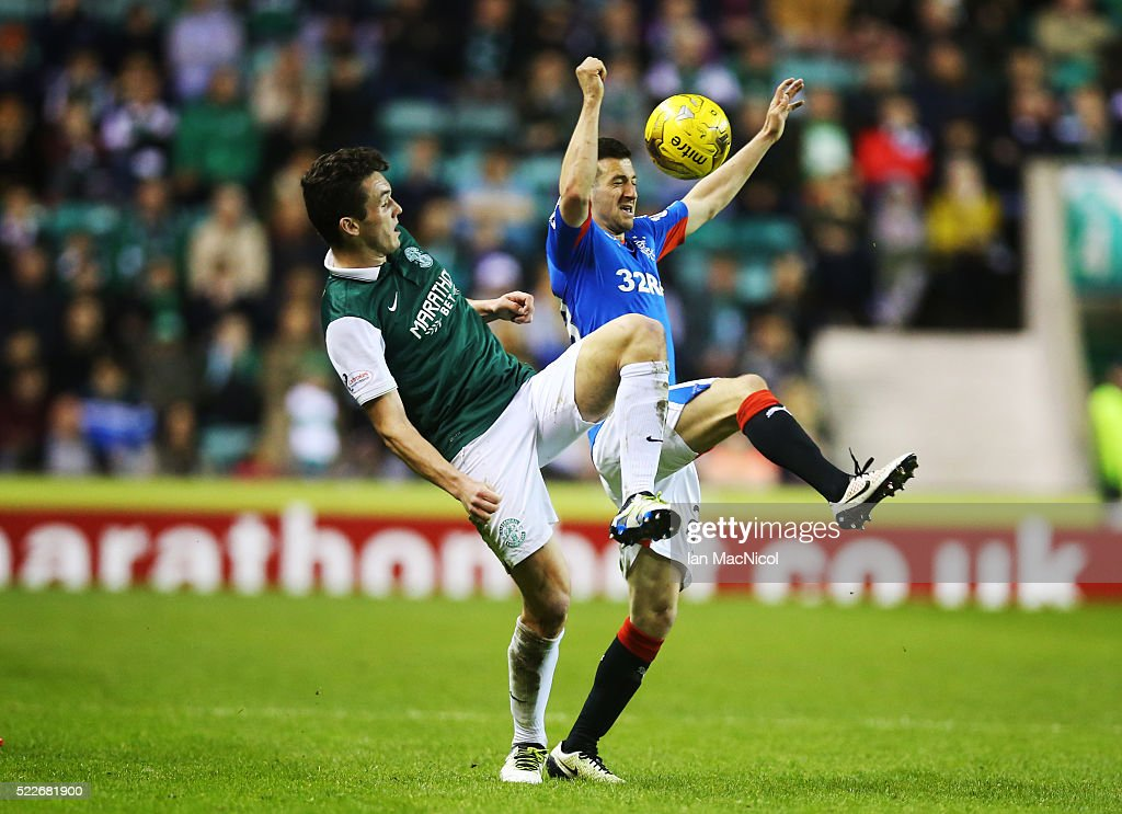 John McGinn of Hibernian vies with Jason Holt of Rangers during the Scottish Championship match between Hibernian and Rangers at Easter Road on April 20, 2016 in Edinburgh, Scotland.